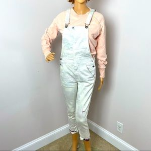 American Eagle Bib Overall Front Zip Hook Button